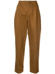 Loveless Ruched Waistband Tapered Trousers Brown