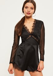 Missguided Petite Exclusive Black Satin Mesh Sleeve Playsuit