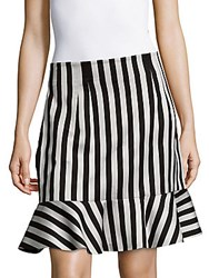 Dolce And Gabbana Flared Striped Skirt Black White