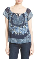Joie Women's Taj Silk Peasant Top Dark Navy