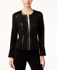 Inc International Concepts Faux Leather Trim Ponte Jacket Only At Macy's Deep Black