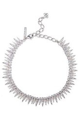 Oscar De La Renta Gold Tone Crystal Necklace Silver