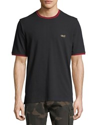 Ovadia And Sons Leopard Embroidered Pique T Shirt Black