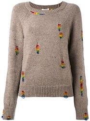 Marc Jacobs Rainbow Beaded Jumper Women Polyester Cashmere Wool Glass L Nude Neutrals