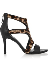 Sandro Leopard Print Calf Hair And Leather Sandals Animal Print