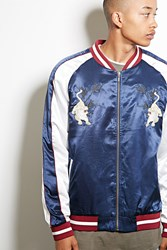 Forever 21 Standard Issue Satin Jacket Navy White