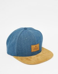 Asos Snapback Cap In Blue Washed Canvas With Tan Faux Suede Peak Blue