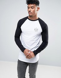 Asos Longline Muscle Long Sleeve Raglan With Athletic Chest And Back Print White Black