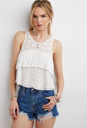 Forever 21 Embroidered Mesh Layered Top Cream