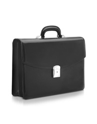 Pineider 1949 Black Calfskin Double Gusset Briefcase