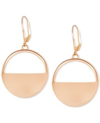 T Tahari Gold Tone Circle Cut Out Drop Earrings