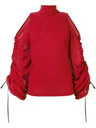 Plein Sud Jeans Ruched Ballon Sleeved Blouse Red