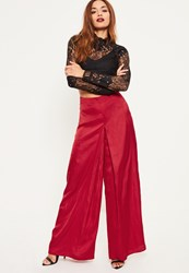 Missguided Red Satin Pleat Front Wide Leg Trousers