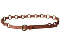 Frye 13Mm Leather And Metal Ring Belt On Logo Harness Buckle Luggage Antique Brass Women's Belts Brown