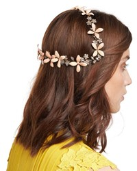 Jennifer Behr Lillith Painted Flower Coronet Headband Light Orange