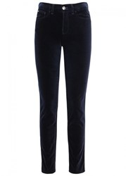Armani Collezioni Midnight Blue Stretch Velvet Trousers Navy