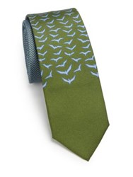 Vilebrequin Chevron And Seagull Silk Tie Green