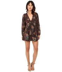 Free People Strawberry Fields Mini Dress Black Combo Women's Dress