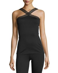 Heroine Sport X Mesh Trim Performance Tank Black