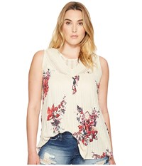 Lucky Brand Plus Size Floral Print Crochet Tank Top Natural Multi Women's Sleeveless