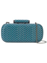 Inge Christopher Small Woven Clutch Bag Blue