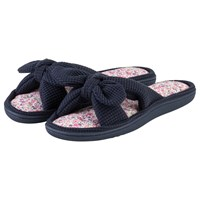 Totes Open Toe Waffle Slippers Navy