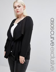 Asos Curve Waterfall Blazer Black