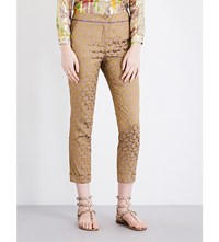 Etro Paisley Print Cropped Jacquard Trousers Gold