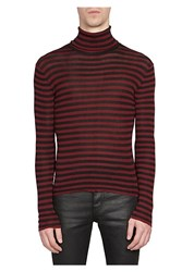 Saint Laurent Striped Turtleneck Pullover Red Black
