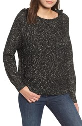 Rvca Marled Hooded Cable Knit Cotton Blend Sweater Black