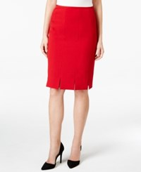 Kasper Stretch Crepe Pleated Straight Skirt Fire Red