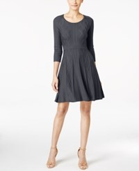Calvin Klein Intarsia Fit And Flare Sweater Dress Charcoal