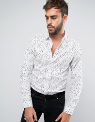 Noose And Monkey Skinny Shirt In Print White