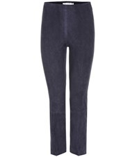 Vince Suede High Rise Cropped Trousers Blue