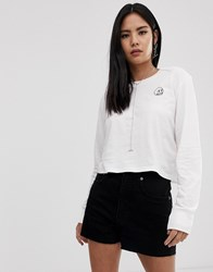 Cheap Monday Beside Long Sleeved T Shirt With Tiny Skull Logo White