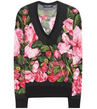 Dolce And Gabbana Floral Printed Cashmere Silk Sweater Black