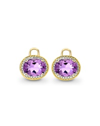 Oval Amethyst And Diamond Earring Drops 18K Yellow Gold Kiki Mcdonough