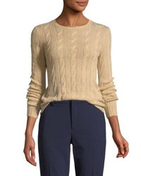 Ralph Lauren Long Sleeve Cable Knit Cashmere Sweater Sand