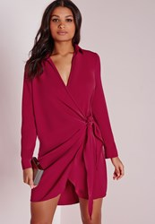 Missguided Crepe Wrap Shirt Dress Raspberry Red