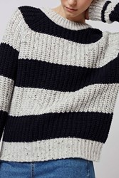Slouchy Ribbed Stripe Jumper By Boutique Light Grey