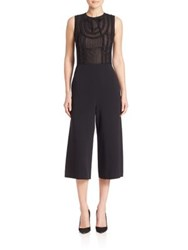 Red Valentino Point D'esprit Cropped Jumpsuit Black