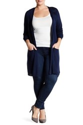 Joseph A Knit Longline Cardigan Plus Size Blue