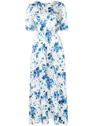 Adam By Adam Lippes Floral Print Smocked Maxi Dress White