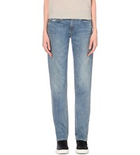 Helmut Lang Speckled Straight Mid Rise Jeans Light Blue