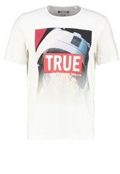 Mustang Tailored Fit Print Tshirt Weiss White