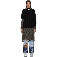 Junya Watanabe Black And Multicolor Flower Mohair Mix Dress