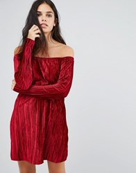 Club L Bardot Smock Velvet Dress With Sleeve Wine Velvet Red