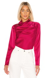 C Meo Collective Late Thoughts Blouse In Pink. Fuchsia