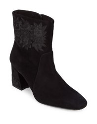 Imnyc Isaac Mizrahi Teagan Embroidered Suede Booties Black