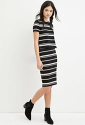 Forever 21 Striped Midi Skirt Black Cream